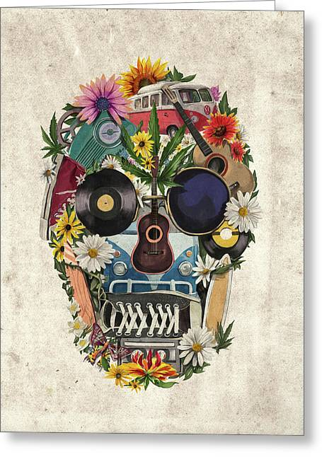 Retro Hippie Skull Greeting Card