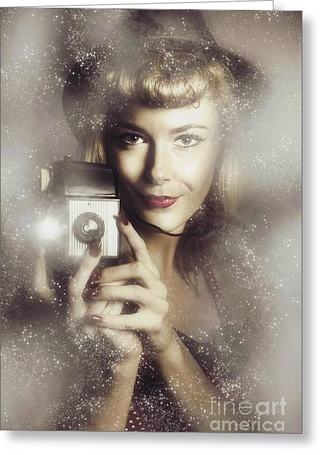 Retro Hollywood Fashion Photographer Greeting Card by Jorgo Photography - Wall Art Gallery