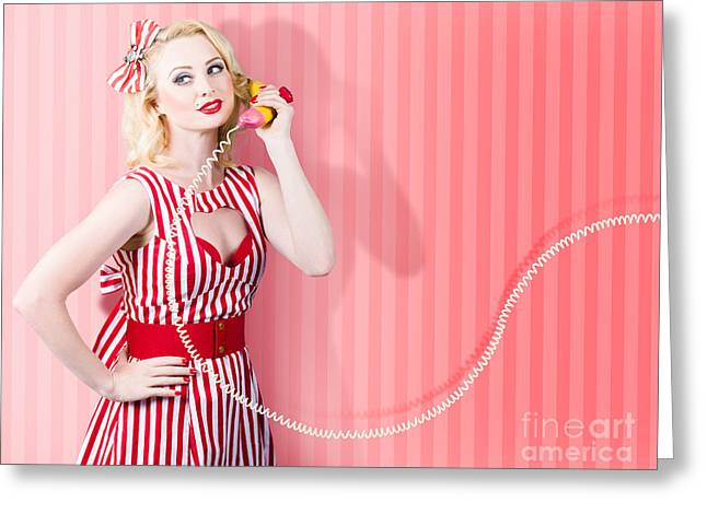 Retro Housewife In 50s Fashion On Vintage Phone Greeting Card by Jorgo Photography - Wall Art Gallery