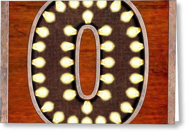 Retro Marquee Lighted Letter O Greeting Card by Mark Tisdale