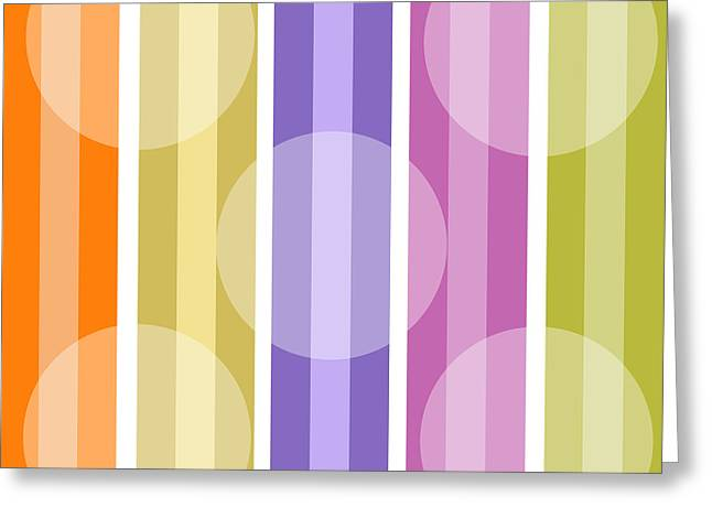 Retro Metro Warm Stripe Greeting Card by Mindy Sommers