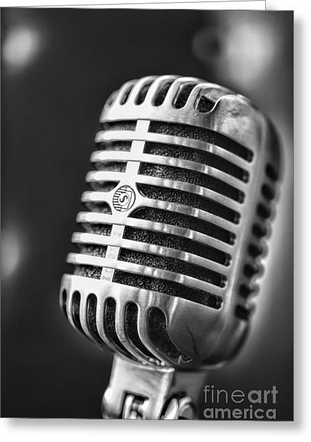 Retro Microphone In Black And White Greeting Card