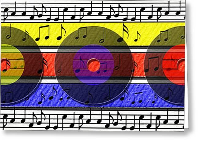 Retro Music Greeting Card by Steve Ohlsen