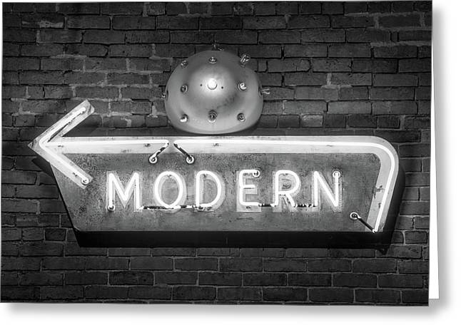 Vintage Neon Arrow Sign On Brick Wall - Black And White Greeting Card