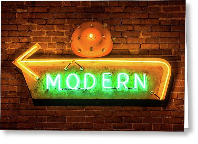 Vintage Neon Arrow Sign On Brick Wall  Greeting Card by Gregory Ballos