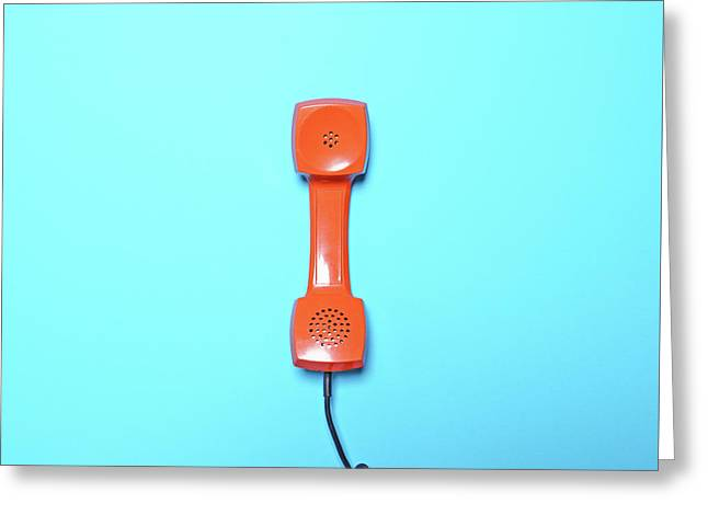 Retro Orange Telephone Tube On Blue Background - Flat Lay Greeting Card