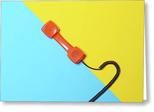 Retro Orange Telephone Tube On Striped Blue And Yellow Backgroun Greeting Card