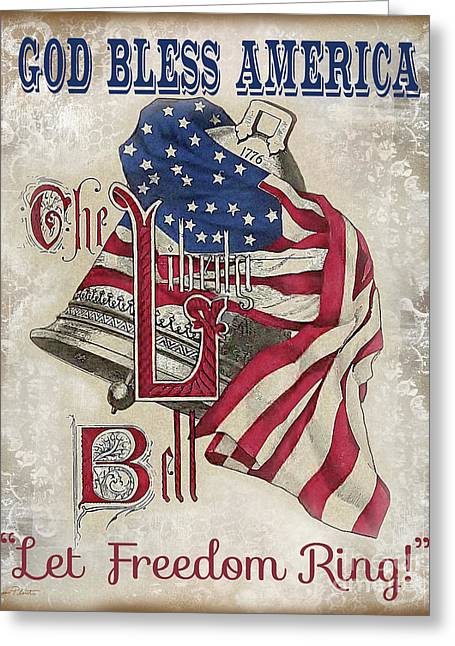 Greeting Card featuring the digital art Retro Patriotic-a by Jean Plout