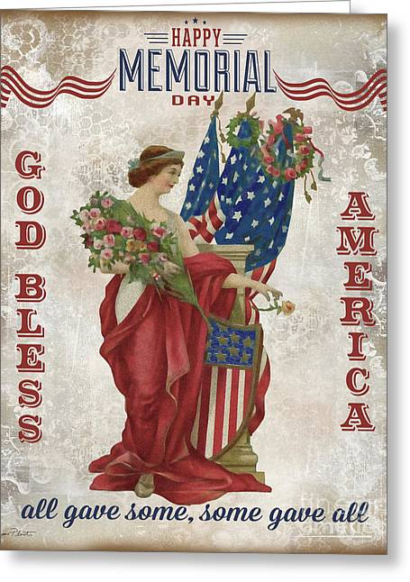 Greeting Card featuring the digital art Retro Patriotic-b by Jean Plout