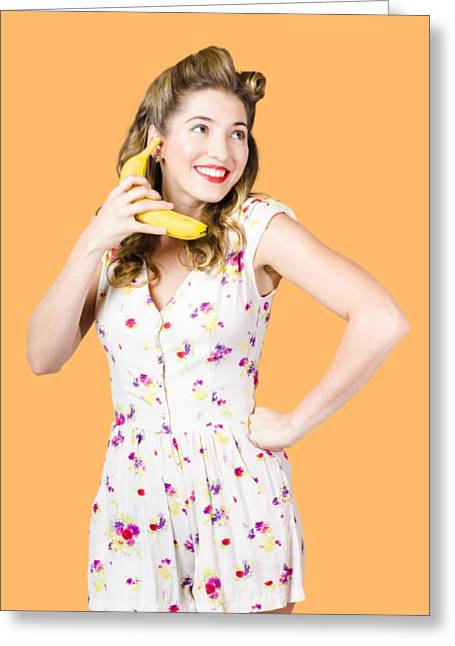Retro Pin Up Girl Chatting On Banana Telephone Greeting Card by Jorgo Photography - Wall Art Gallery
