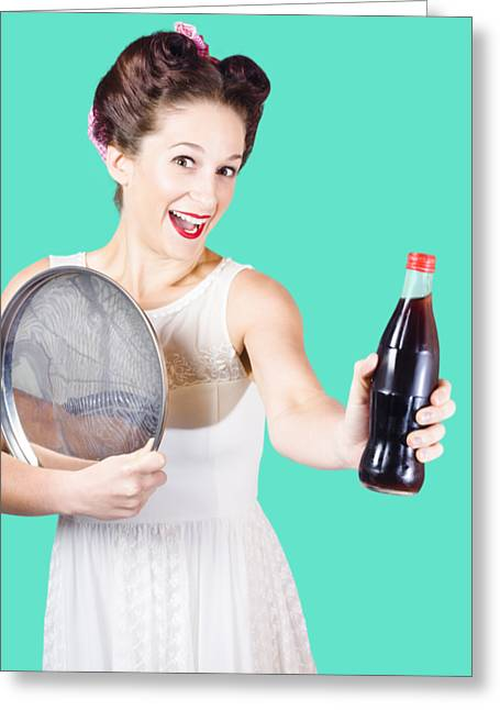 Retro Pin-up Girl Giving Bottle Of Soft Drink Greeting Card by Jorgo Photography - Wall Art Gallery