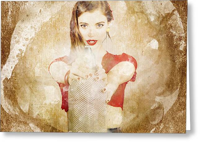 Retro Pin Up Girl Shooting Perfume Spray Bottle Greeting Card by Jorgo Photography - Wall Art Gallery