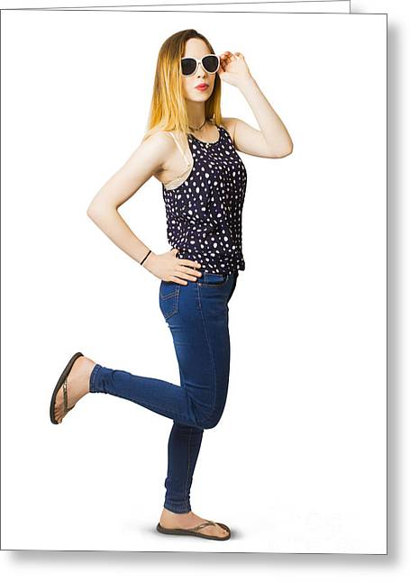 Retro Pin-up Model Kicking Up A Full Length Pose Greeting Card by Jorgo Photography - Wall Art Gallery