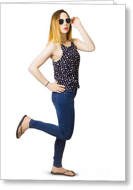 Retro Pin-up Model Kicking Up A Full Length Pose Greeting Card