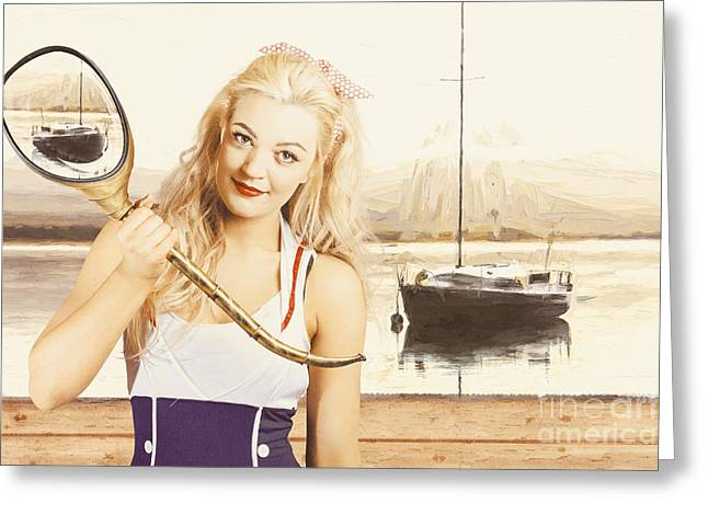 Retro Pin Up Sailor Woman With Nautical Periscope Greeting Card by Jorgo Photography - Wall Art Gallery