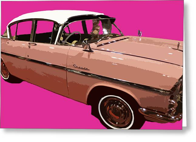 Retro Pink Car Art Greeting Card