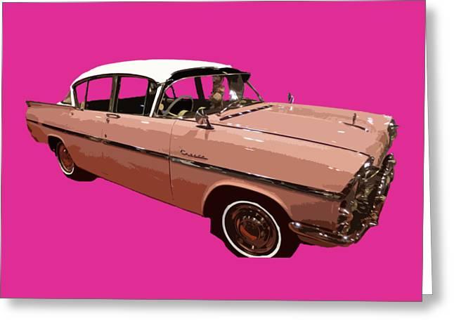 Retro Pink Car Art Greeting Card
