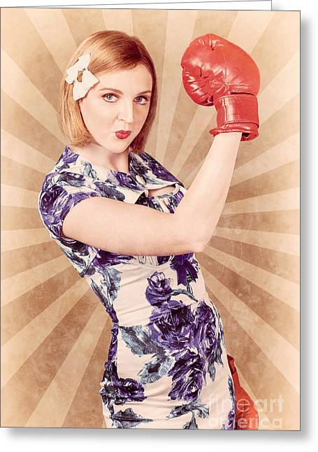 Retro Pinup Boxing Girl Fist Pumping Glove Hand  Greeting Card by Jorgo Photography - Wall Art Gallery