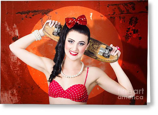 Retro Pinup Girl Holding Old Wooden Skateboard Greeting Card by Jorgo Photography - Wall Art Gallery
