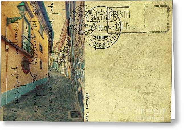 Greeting Card featuring the digital art retro postcard of Porto, Portugal  by Ariadna De Raadt