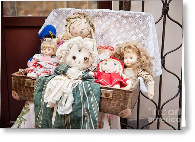 Retro Rag Dolls Toys Collection Greeting Card by Arletta Cwalina