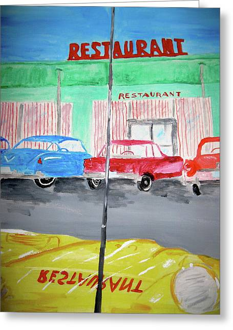 Greeting Card featuring the painting Retro Restaurant by Rebecca Wood