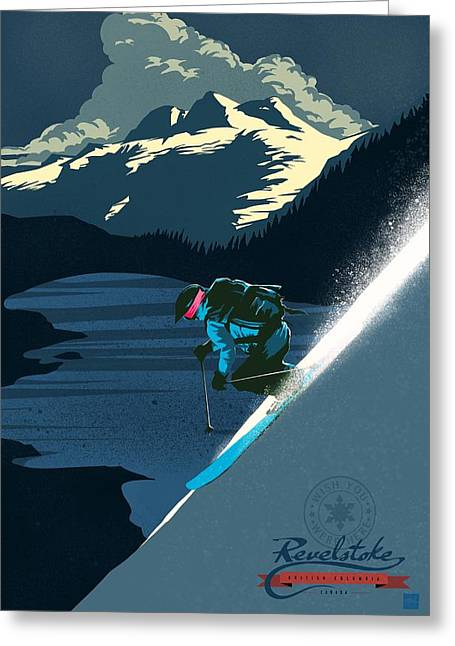 Retro Revelstoke Ski Poster Greeting Card by Sassan Filsoof