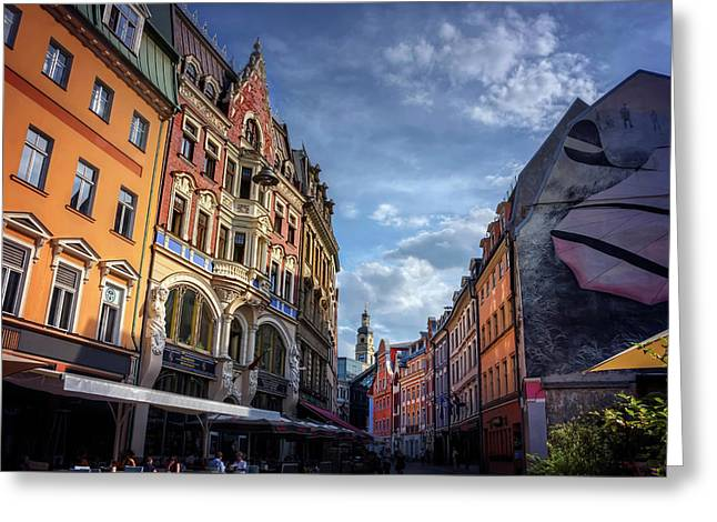 Retro Riga Greeting Card by Carol Japp