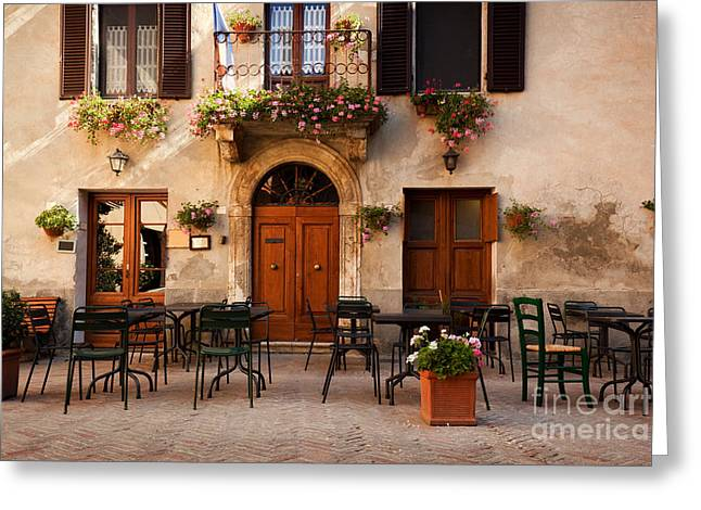 Retro Romantic Restaurant, Cafe In A Small Italian Town Greeting Card