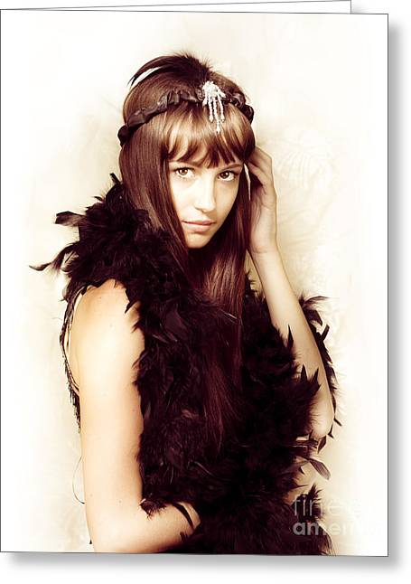 Retro Showgirl In Feather Boa Greeting Card by Jorgo Photography - Wall Art Gallery