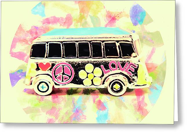 Retro Sixties Pop Art Van Greeting Card by Jorgo Photography - Wall Art Gallery