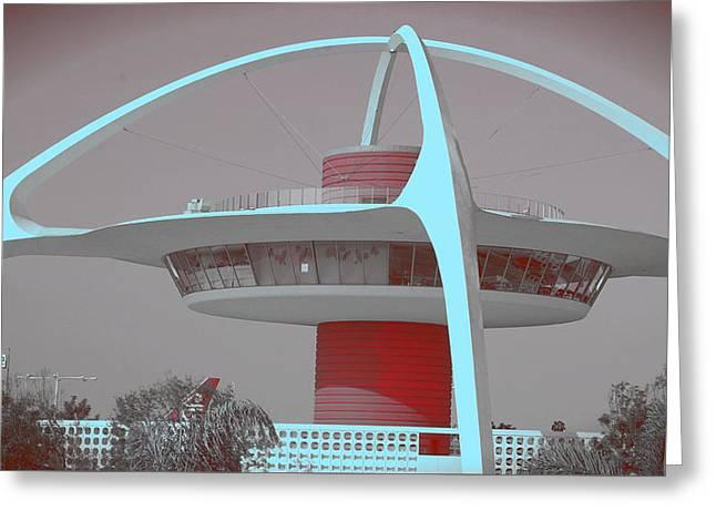 Retro Spaceship Aka La Airport Greeting Card by Matthew Bamberg