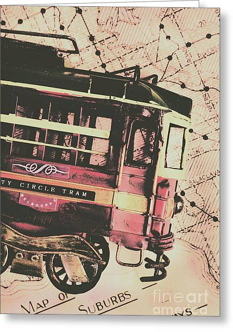 Retro Streets And Urban Trams Greeting Card