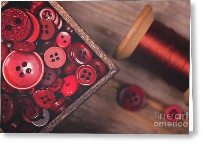Retro Styled Red Buttons And Thread Greeting Card by Jane Rix