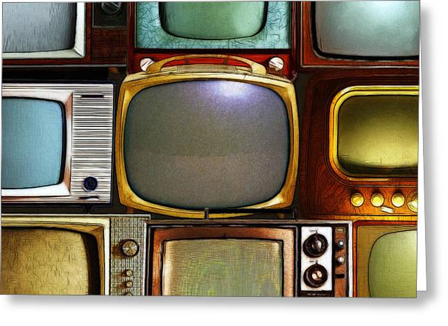 Retro Television Marathon 20150928square V2 Greeting Card by Wingsdomain Art and Photography
