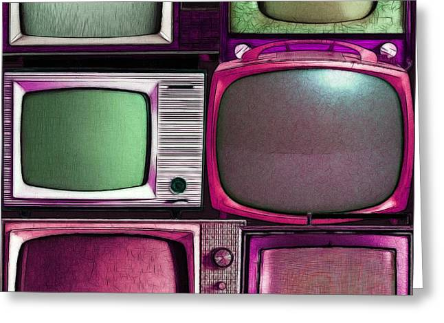 Retro Television Marathon 20150928vertical V2 M68 Greeting Card by Wingsdomain Art and Photography