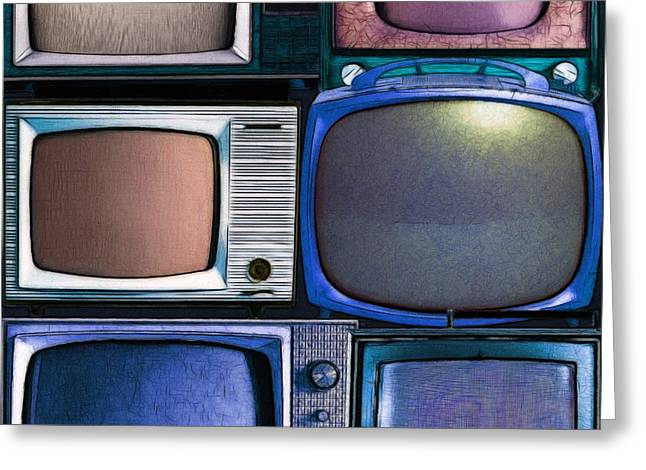 Retro Television Marathon 20150928vertical V2 P180 Greeting Card by Wingsdomain Art and Photography