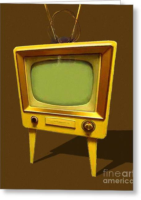 Retro Television With Rabbit Ears 20150905 Greeting Card by Wingsdomain Art and Photography