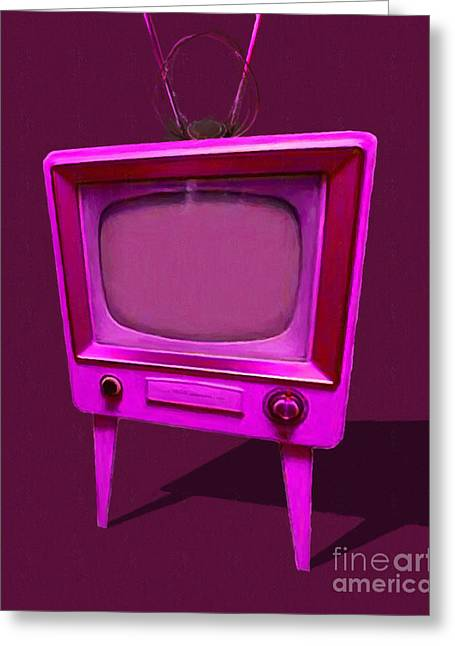 Retro Television With Rabbit Ears 20150905 Ym108 Greeting Card by Wingsdomain Art and Photography