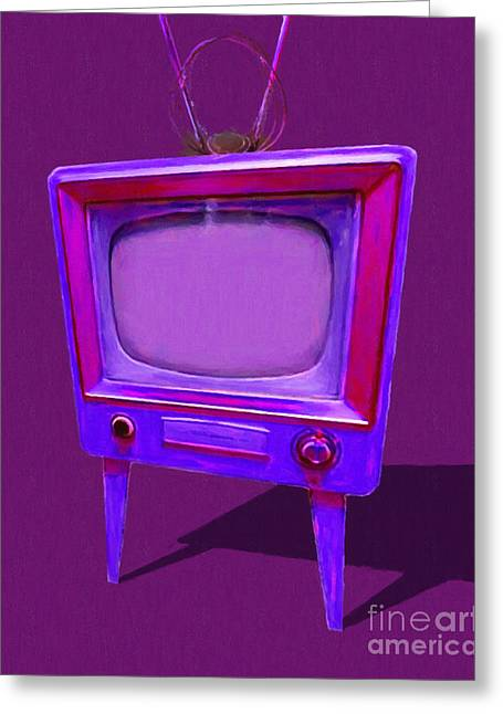 Retro Television With Rabbit Ears 20150905 Ym150bc Greeting Card by Wingsdomain Art and Photography