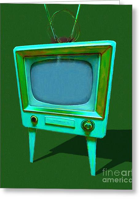 Retro Television With Rabbit Ears 20150905 Yp128 Greeting Card by Wingsdomain Art and Photography