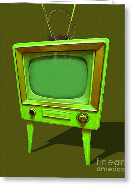 Retro Television With Rabbit Ears 20150905 Yp45 Greeting Card by Wingsdomain Art and Photography