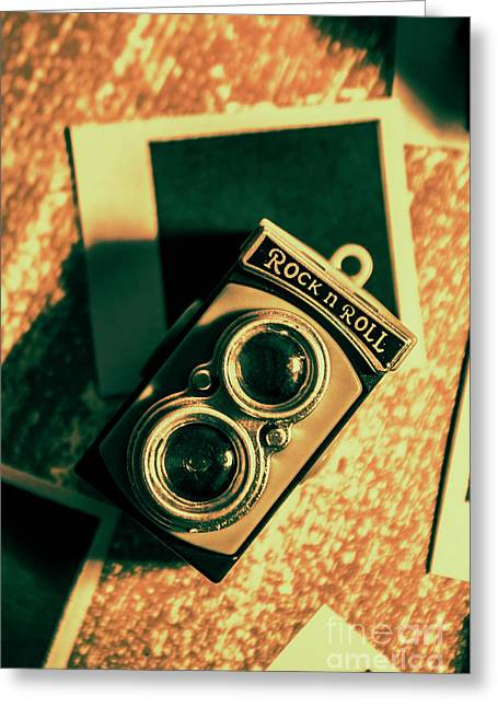 Retro Toy Camera On Photo Background Greeting Card by Jorgo Photography - Wall Art Gallery