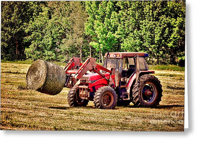 Retro Tractor Scene Greeting Card by Olivier Le Queinec