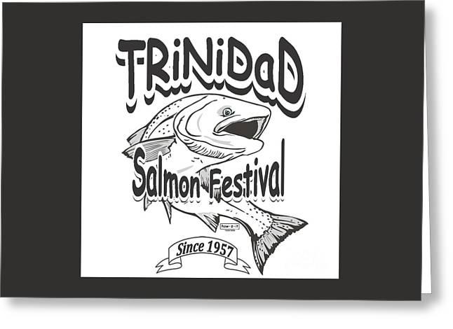 Retro Trinidad Bay Salmon Festival 1957 Greeting Card by Robert Morrissey