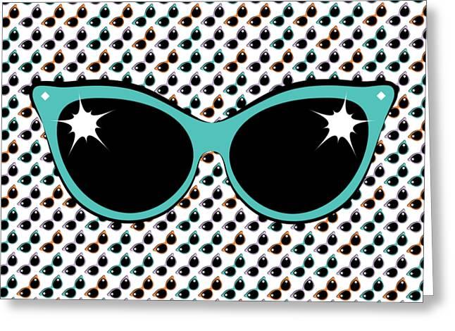 Retro Turquoise Cat Sunglasses Greeting Card