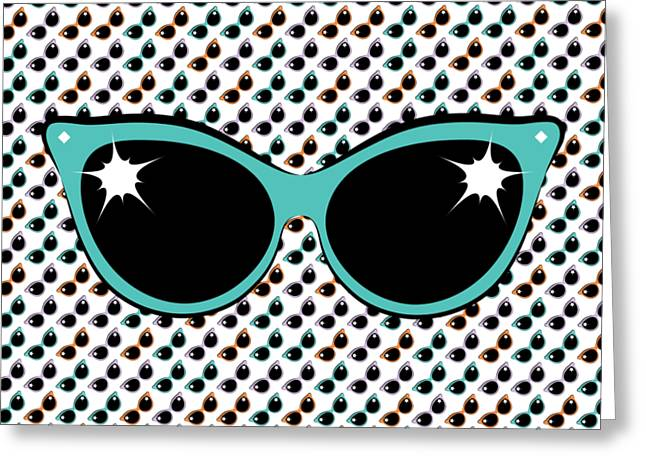 Retro Turquoise Cat Sunglasses Greeting Card