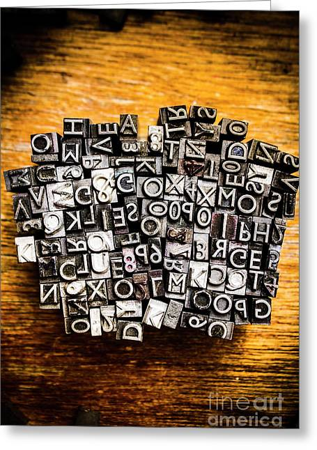 Retro Typesetting In Print Greeting Card by Jorgo Photography - Wall Art Gallery