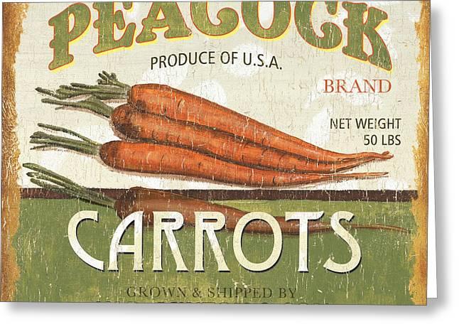 Retro Veggie Label 2 Greeting Card by Debbie DeWitt
