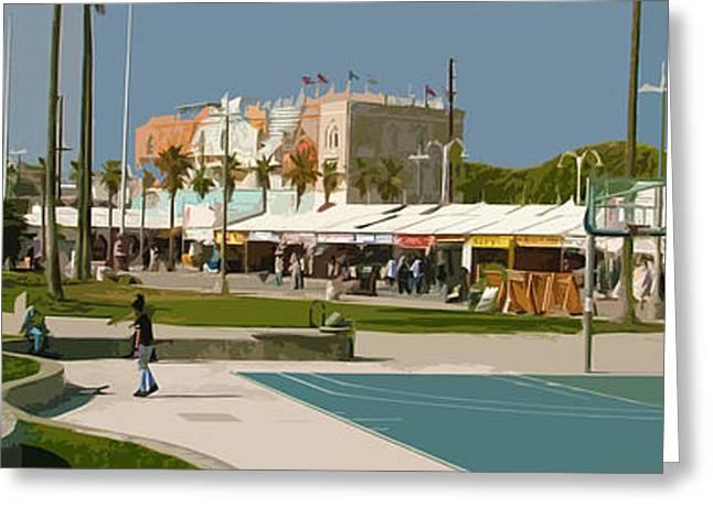 Usa Digital Greeting Cards - Retro Venice Beach Greeting Card by Phill Petrovic